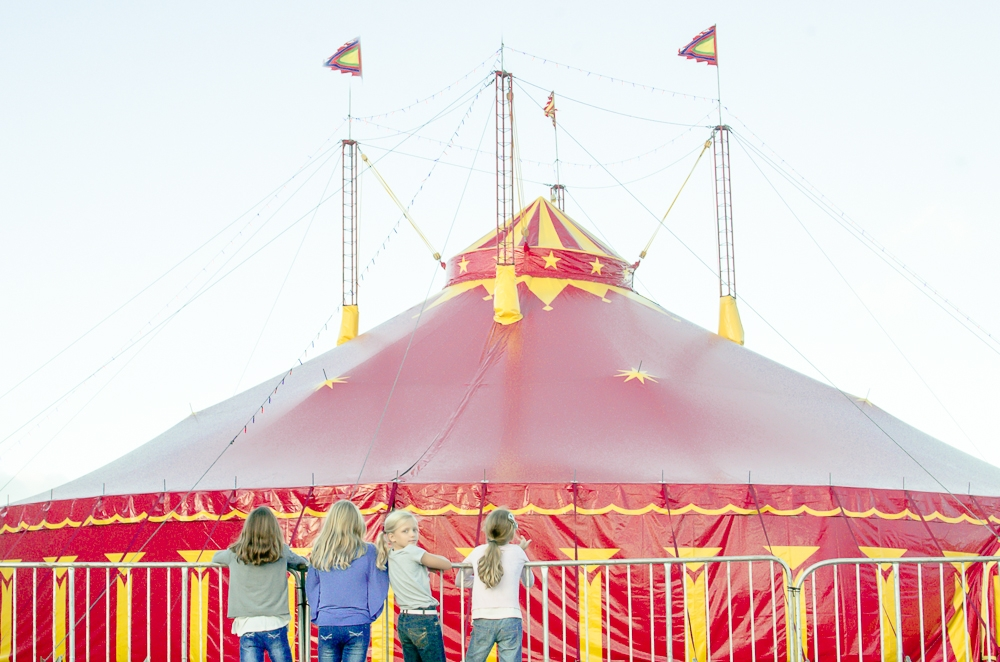 children in front of circus tent in mauritius